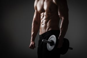 Athletic Male With Dumbbells