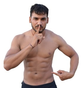 Man Pointing to his Abs