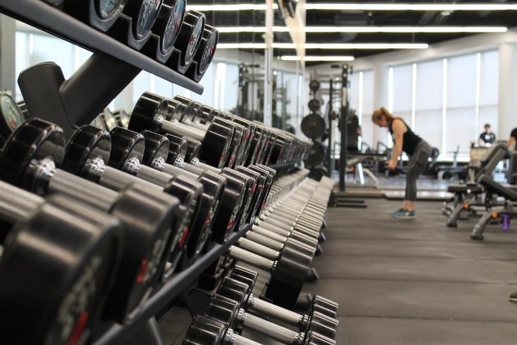 Rack full of Dumbells in Gym